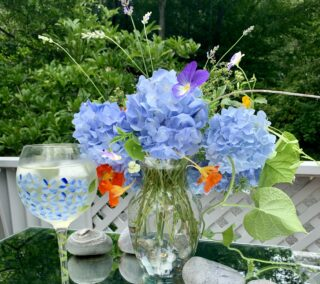 A Perfect Summer Romance, Hydrangeas &  Pinot Grigio